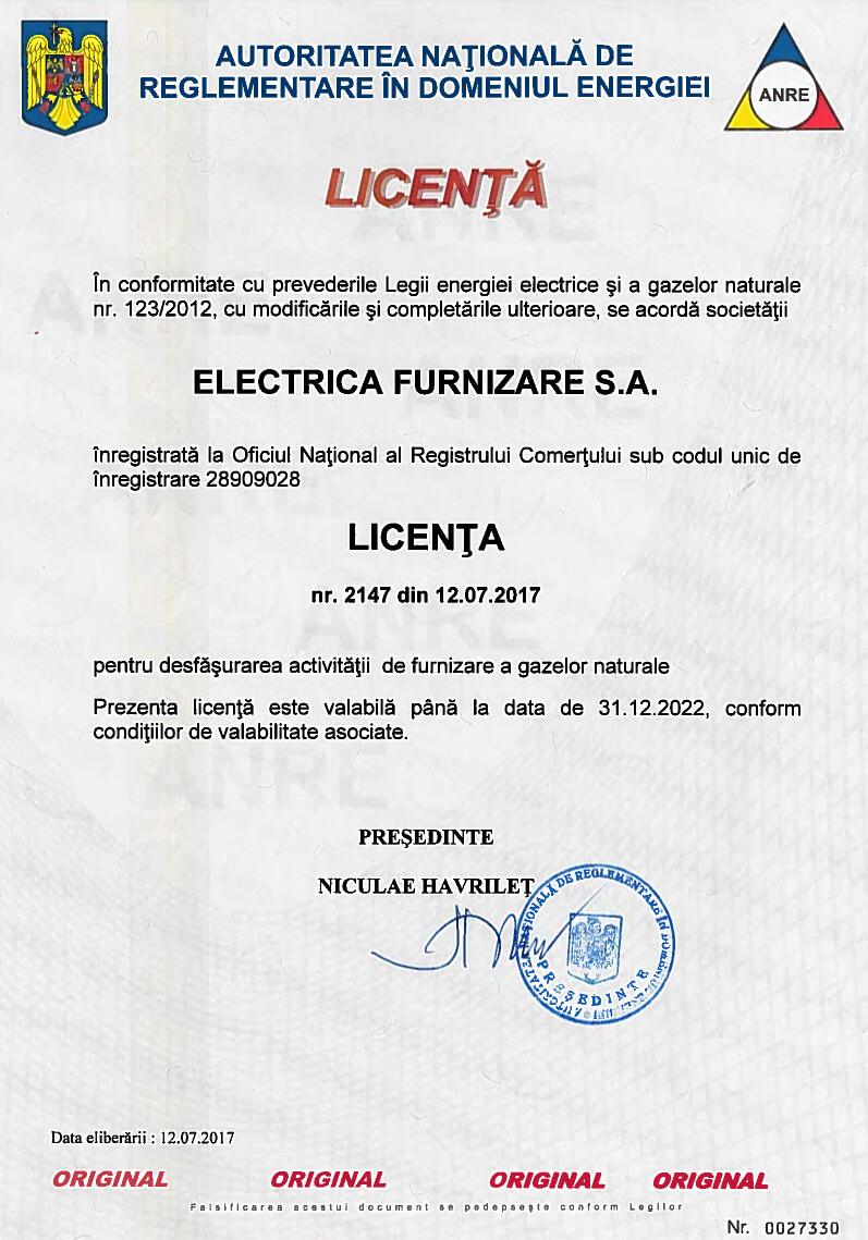Licență pentru desfășurarea activității de furnizare a gazelor naturale